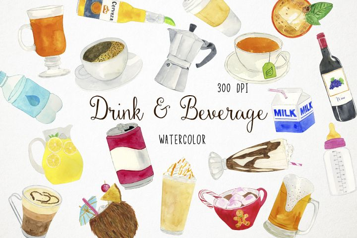 Watercolor Drinks Clipart, Drinks Clip Art, Beverage Clipart