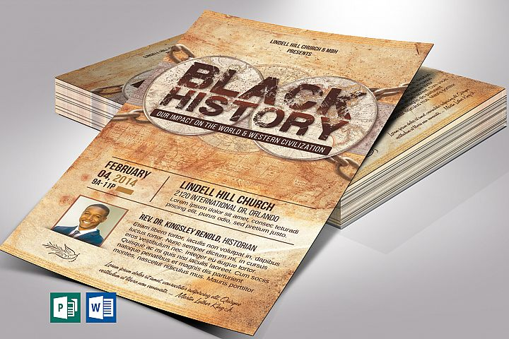 Black History Flyer Word Publisher Template   5 Backgrounds