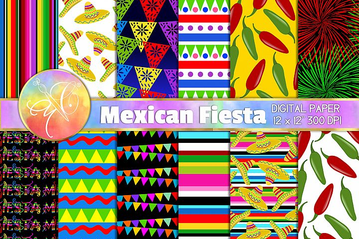Mexican Fiesta Digital Paper, Digital Background