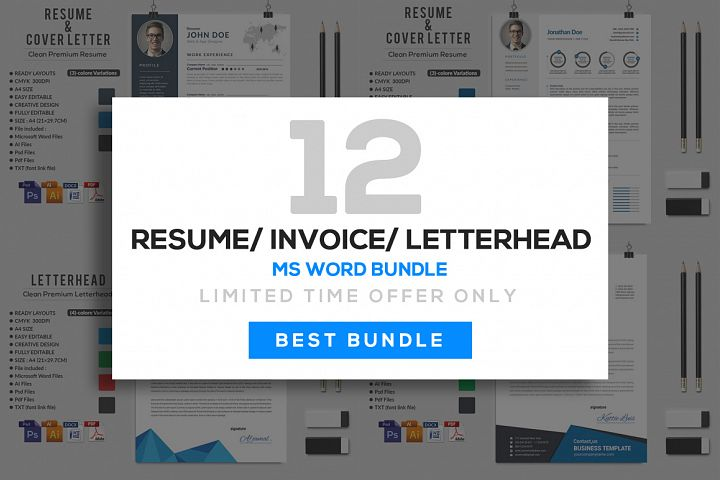 12 Clean Rsume Invoice and Letterhead Bundle