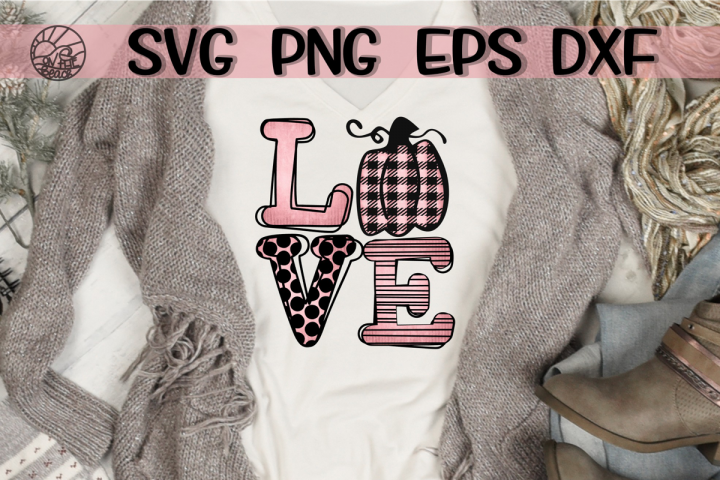 LOVE - Pink Pumpkin - SVG PNG DXF EPS