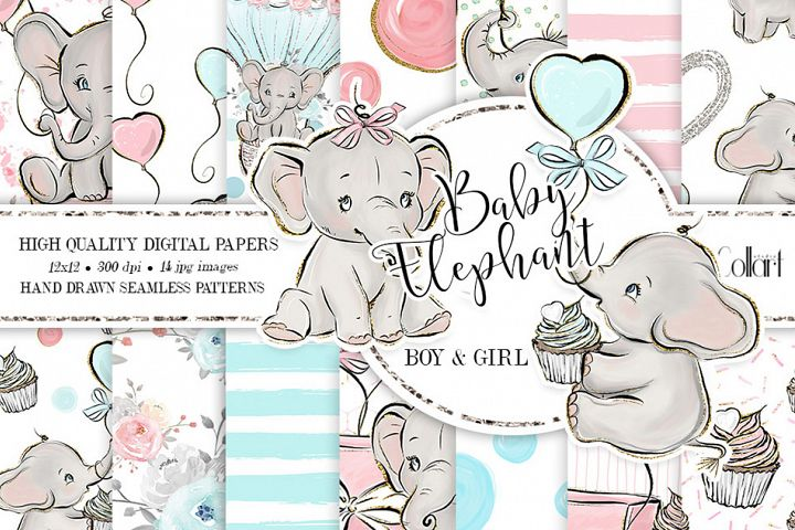 Elephant digital paper, baby boy papers, baby girl papers