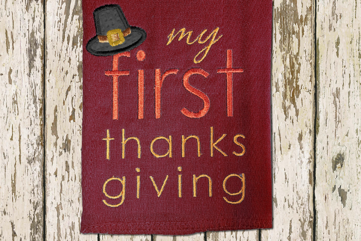 My First Thanksgiving Applique Embroidery Design