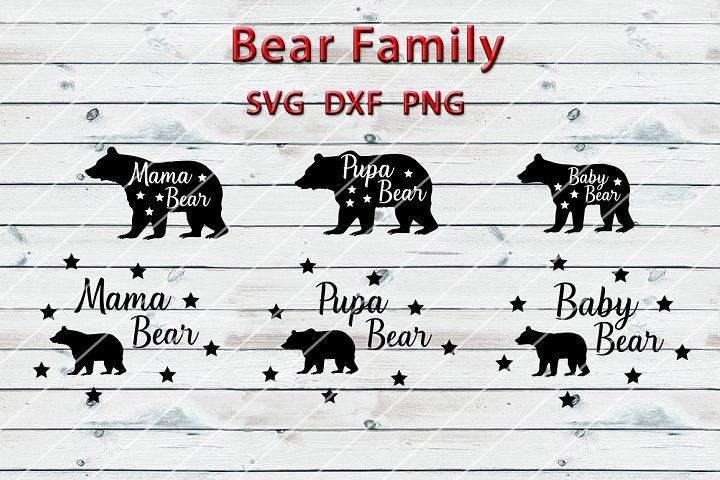 Bear Family SVG DXF PNG - For Crafters