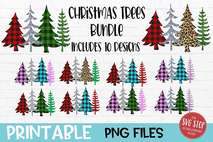 Glitter Christmas Trees Sublimation PNG Bundle
