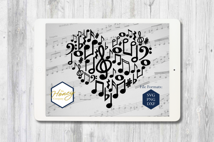 Music Notes SVG PNG DXF Piano Teacher Heart Instant Download