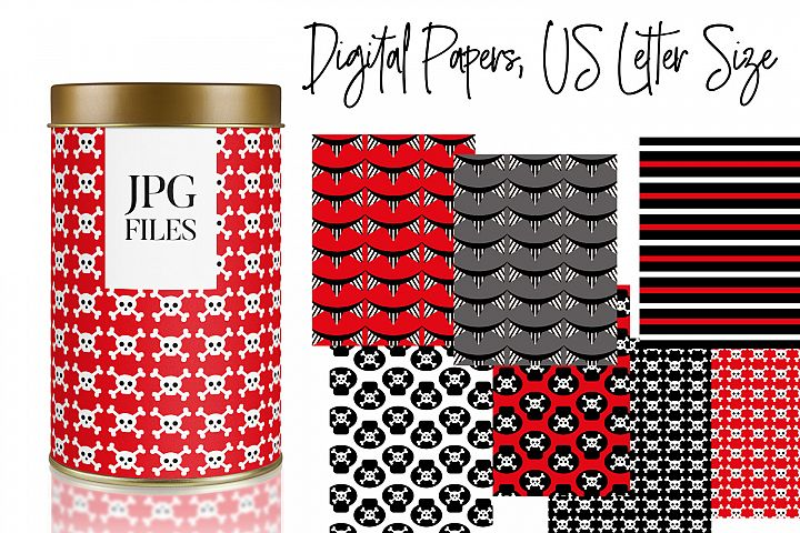 Pirate Skulls Patterns - Red Black Background