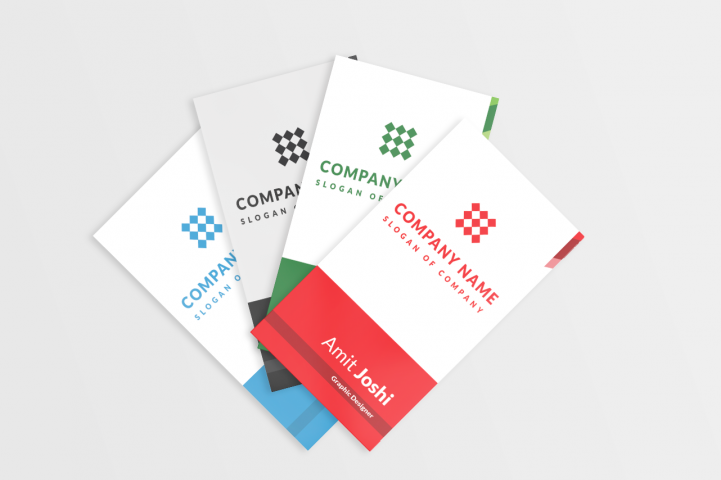4 Solid Color Vertical Business Card