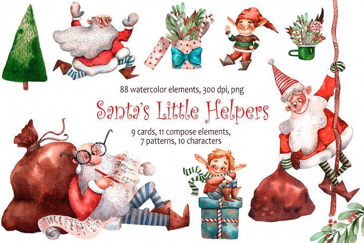 Santas Little Helpers - Watercolor Clip Art Set