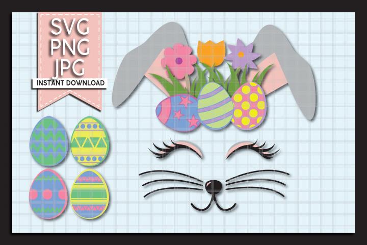 Easter Bunny Eyelashes Svg Cut File