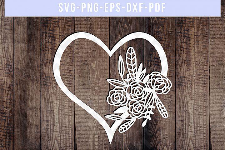 Floral Heart Papercut Template, Wedding Flower Scrapbook SVG
