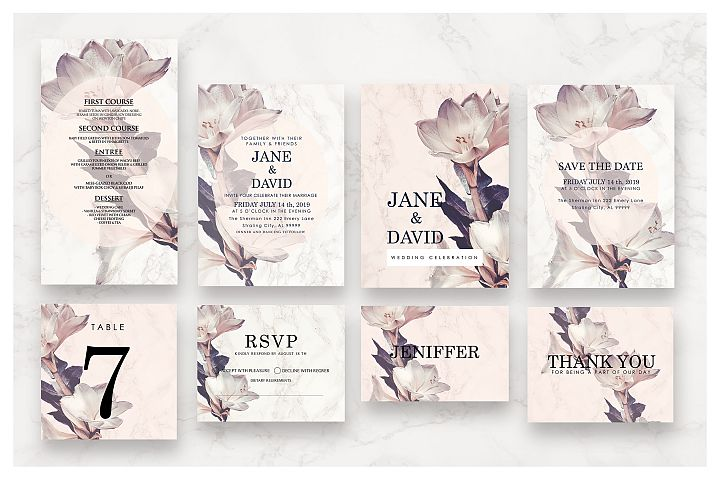 Flower & Marble Invitation Suite As.5