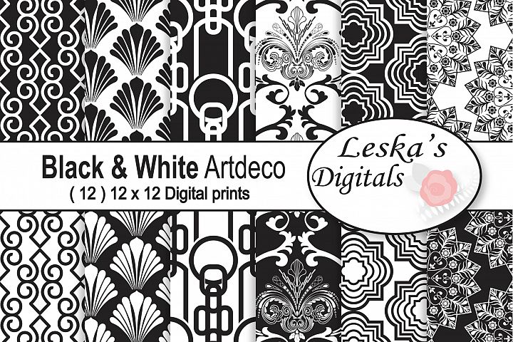 Black &White Art Deco Digital Paper