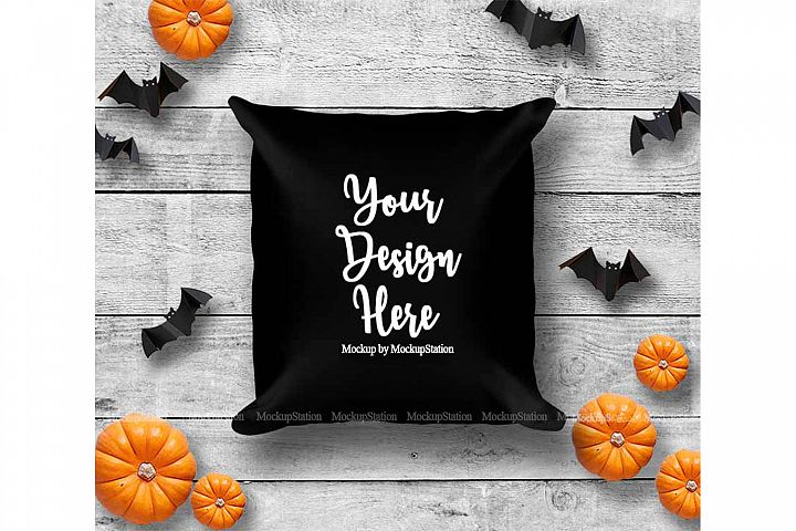 Halloween Black Throw Pillow Mockup, Square Fall Cushion
