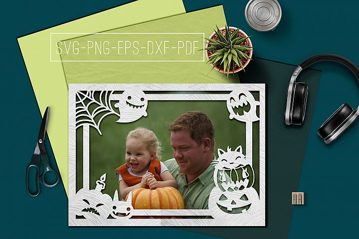 Halloween Photo frame Papercut Template, Spooky SVG, DXF, PD