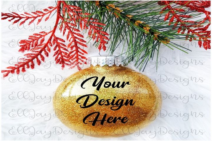 Gold Christmas Glitter Ornament Mock up