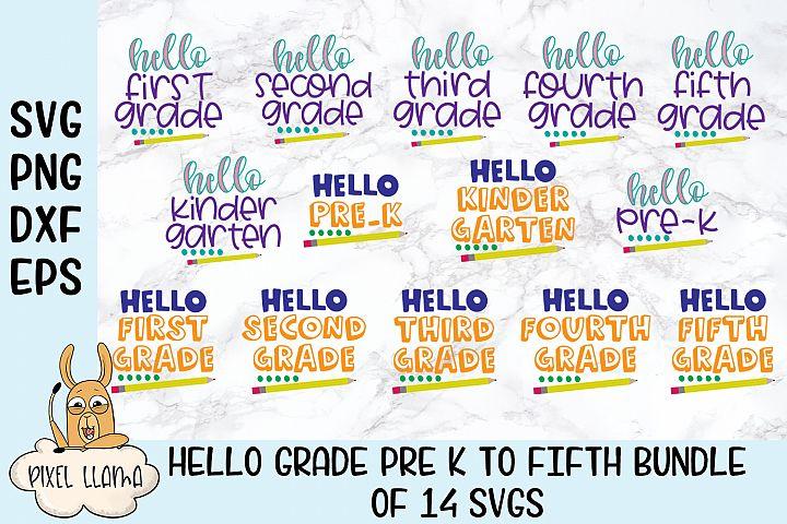 Hello Pre K - Fifth Grade Bundle of 14 SVGs
