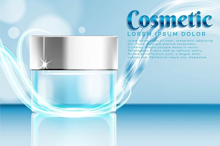 cream jar cosmetic products ad, with water splash background