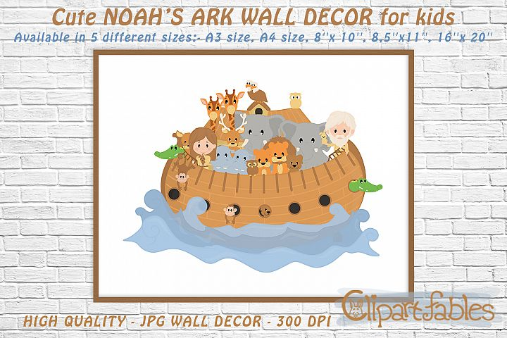 Cute NOAHs ARK, Digital print, INSTANT wall decor for kids