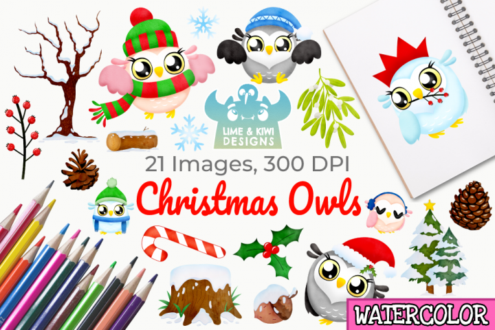 Christmas Owls Watercolor Clipart, Instant Download