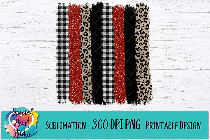 Christmas Sublimation - Brush Strokes PNG - Buffalo Plaid