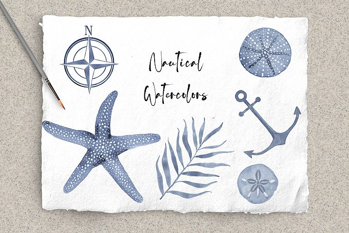 Blue Nautical Watercolor Bundle