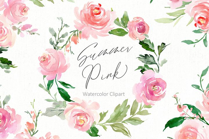 Romantic Watercolor Pink Flowers, Wreaths, Frames, Bouquet
