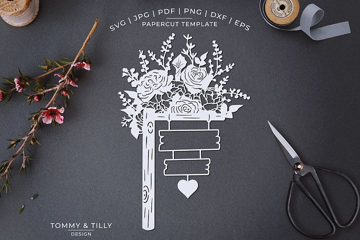 Romantic Floral Sign - Papercut Template SVG JPG PNG