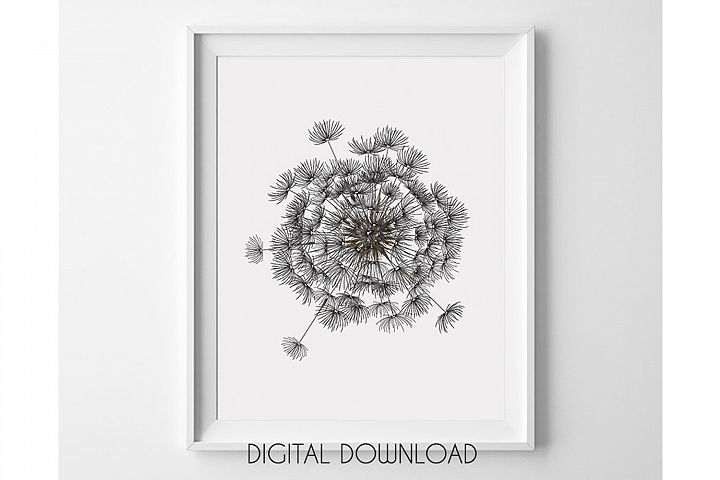 Dandelion Wall Art Large, Printable Digital Download