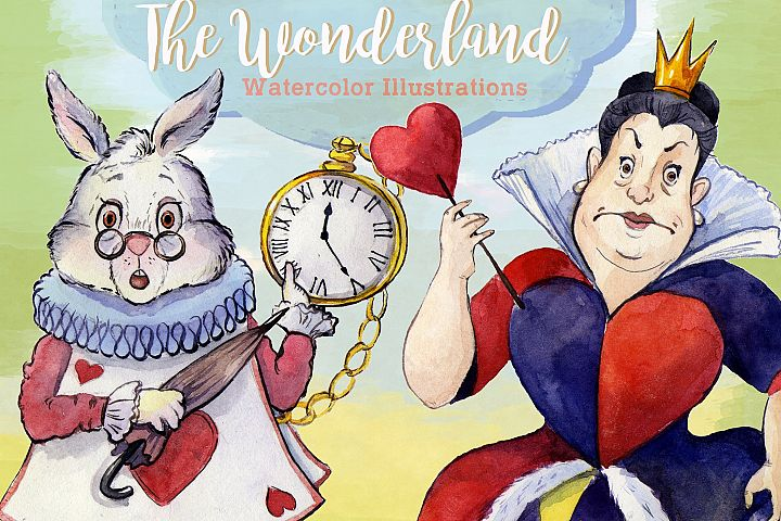 Alice in Wonderland Watercolor Clipart Images