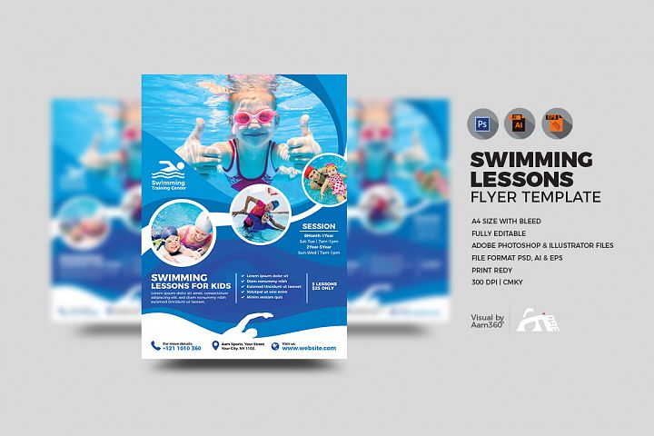 Kids Swimming Lessons Flyer