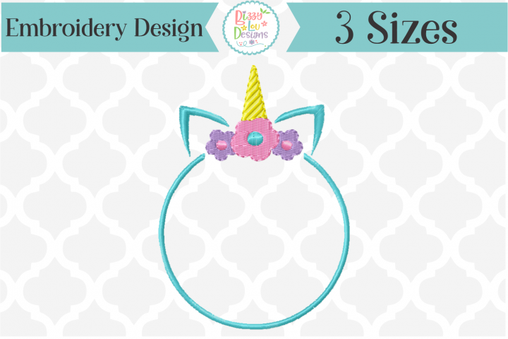 Unicorn Monogram Frame Embroidery Design