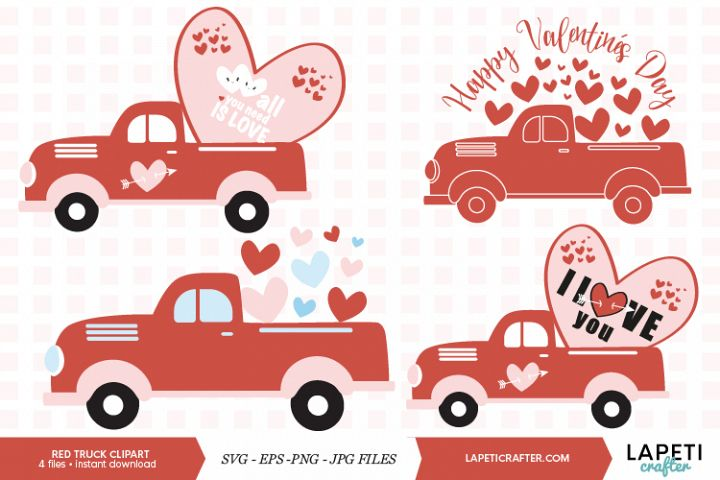 Red truck full of hearts for Valentines Day