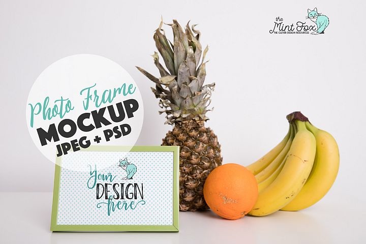 Kitchen Frame Mockup with Fruits| PSD & JPG Mock Up