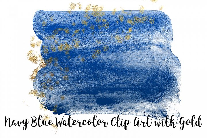 Navy Blue Watercolor Clip Art with Gold, Transparent PNG