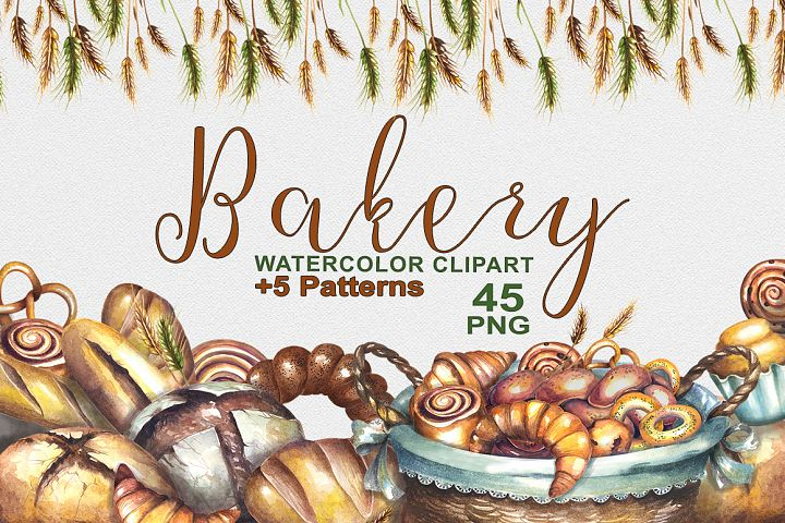 Bakery watercolor clipart