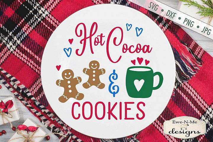 Hot Cocoa & Cookies - Christmas Plate - SVG DXF Files