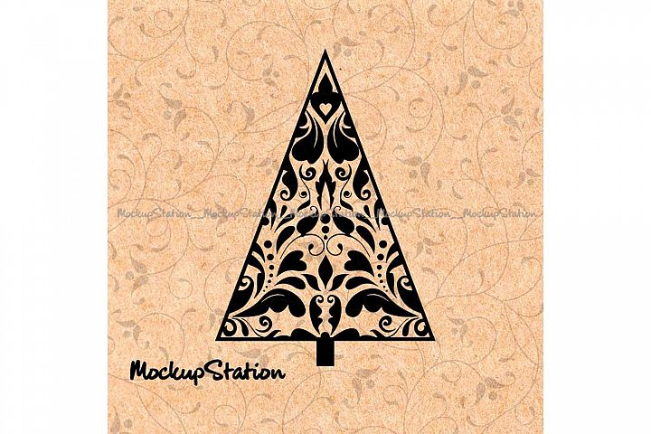 Christmas Tree Doodle Cut File SVG, Mandala Boho Winter Png