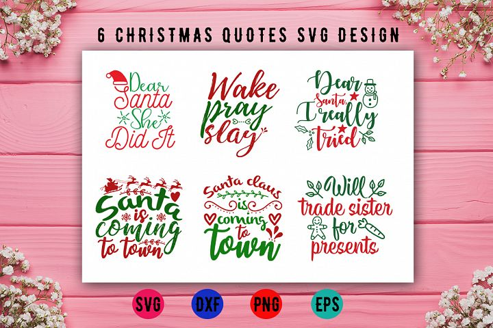 6 Christmas Quotes SVG Design Bundle