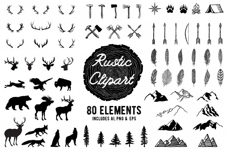 Rustic Clipart Volume 1 - AI, PNG and EPS