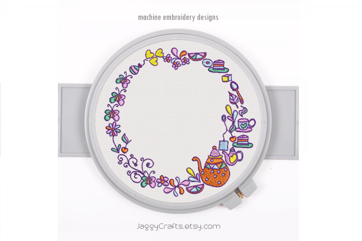 Doodle Wreath Tea Time for Girl Monogram Frame