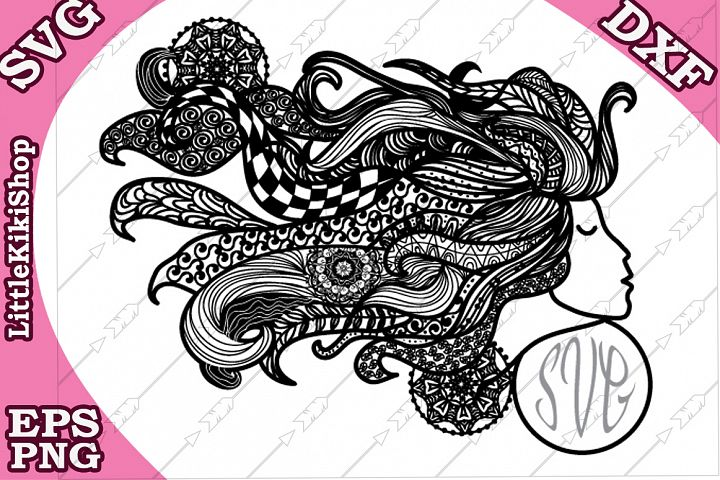Zentangle Girl Monogram Svg, Mandala Girl Svg, Fair Girl cut