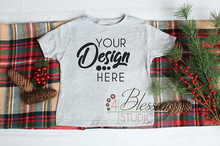 Christmas Kids Shirt Mockup Heather Gray Childrens Flat Lay