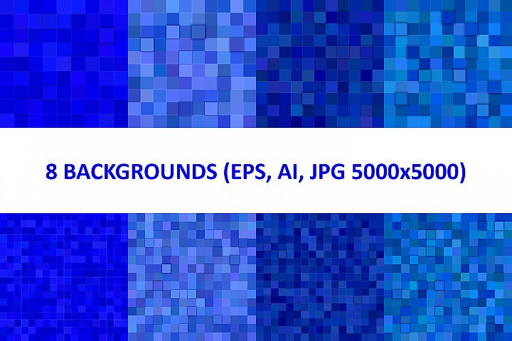 8 Blue 3D Square Backgrounds (AI, EPS, JPG 5000x5000)