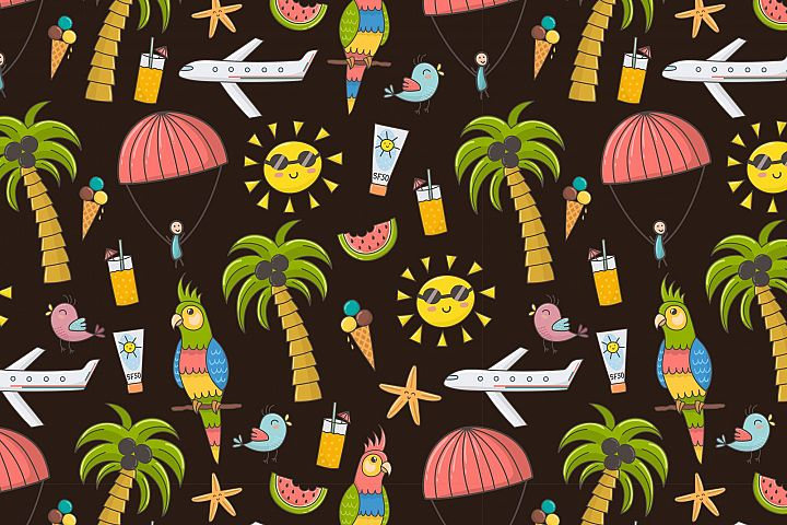 Summer Time: pattern & clipart - Free Design of The Week Design 2