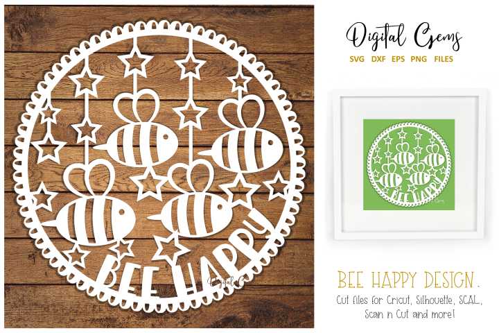 Bee happy paper cut design SVG / DXF / EPS / PNG files