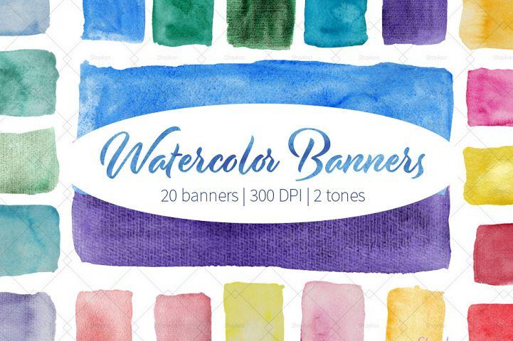 Watercolor Banners Clipart, Handpaint Watercolor Textures, Watercolor Brush Stroke Clipart, Handpaint Banner, Watercolor Splash, Hand Drawn