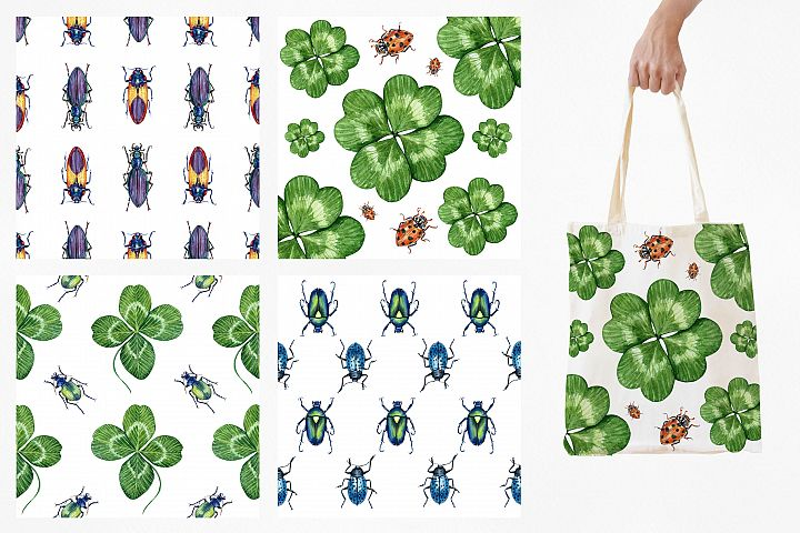 Beetles & Leaves. Watercolor set illustrations example image 5