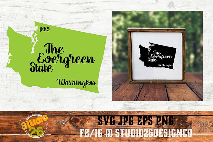 Washington - State Nickname & EST Year - 2 Files - SVG PNG
