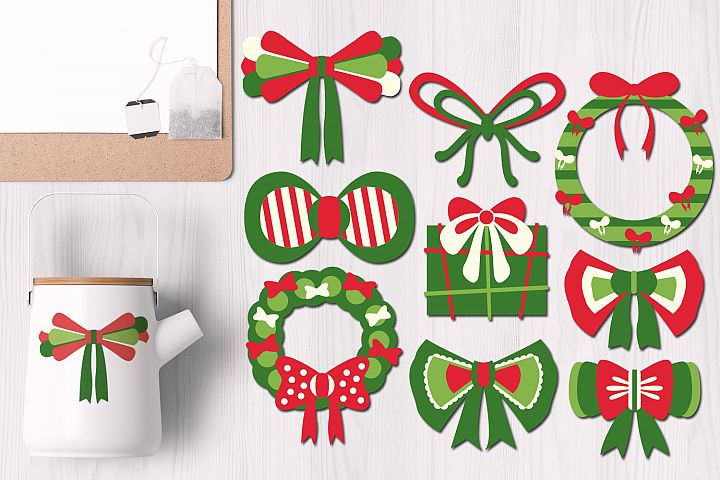 Christmas Ribbons and Wreaths